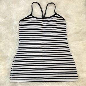 Lululemon black white striped power Y tank 5945